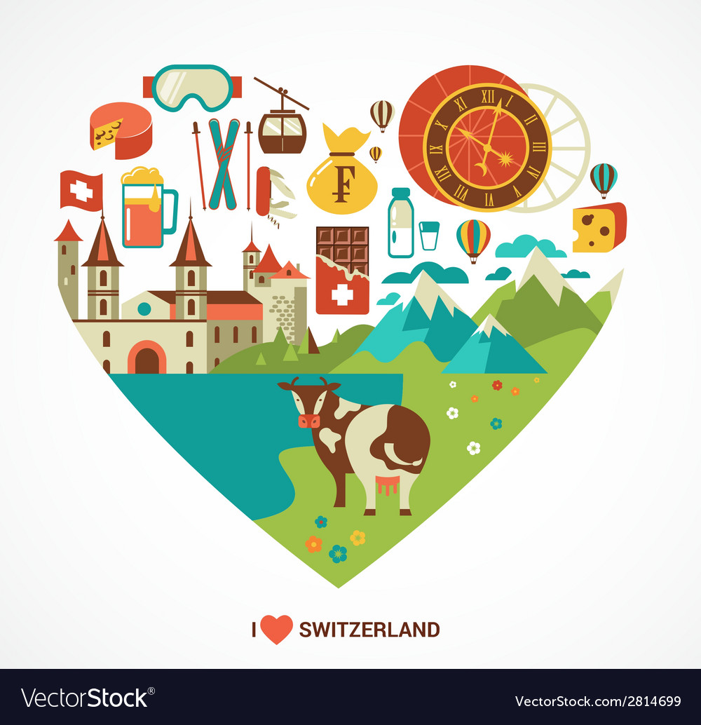 Switzerland love - heart with icons vector | Price: 1 Credit (USD $1)