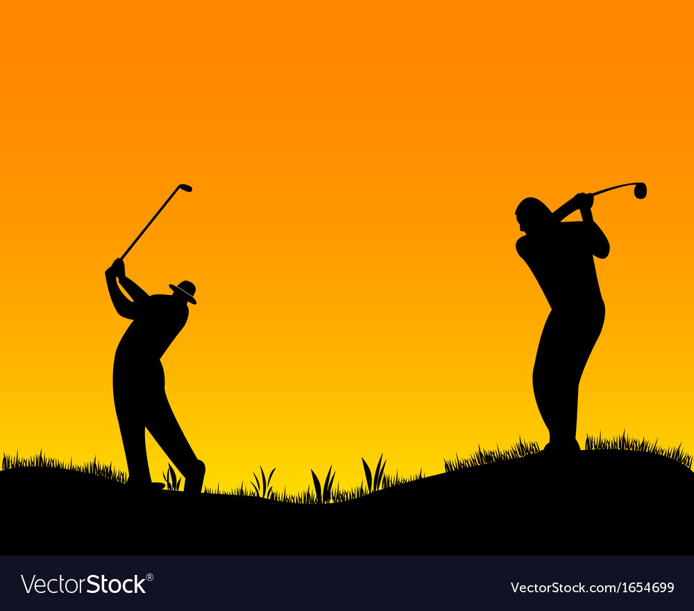 Two golfer vector | Price: 1 Credit (USD $1)