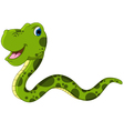 Cute green snake cartoon vector