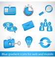 Set of blue gradient icons for web applications vector