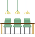 Three empty chairs with long table isolated on vector