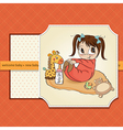 Little baby girl play with her toys vector