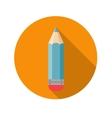 Flat design concept pencil icon with long sh vector