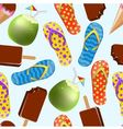 Seamless background with ice cream coconut and sl vector