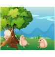 Three playful molehogs near the old tree vector