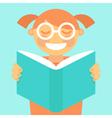 Cartoon kid reading book vector