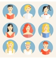Flat icons with portraits of fashionable women vector