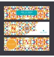 Colorful triangle texture horizontal banners set vector