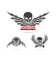 Skeleton skull with wing logo emblem element 001 vector