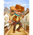 A man holding a gun with a hat outside the saloon vector