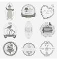 Set of vintage wedding and wedding fashion style vector