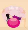 Woman with fitness ball vector