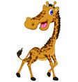 Cute giraffe cartoon posing vector