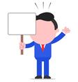 Businessman holding placard vector