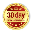 Golden badge with red fill and 30 day money back vector