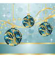Abstract blue background with christmas balls - vector