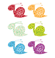 Snail flowers set vector