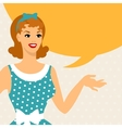 Card with beautiful pin up girl 1950s style says vector