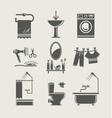 Bathroom equipment set icon vector