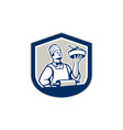 Chef cook holding roller plate retro vector