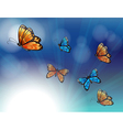 Colorful butterflies in a gradient colored vector