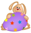 Easter rabbit with painted egg vector