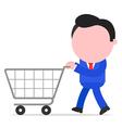 Businessman pushing shopping cart vector