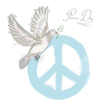 Hand drawn symbol peace dove texture background vector