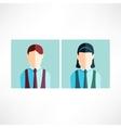 Schoolboy and schoolgirl icon flat vector