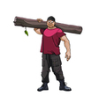 Cartoon strong man with a timber on his shoulder vector