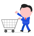 Businessman pushing shopping cart vector