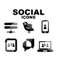 Black glossy social icon set vector