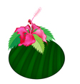 Fresh red hibiscus flowers on banana leaf vector
