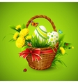 Easter card with basket eggs and flowers vector