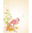 Pink flamingo and butterflies vector
