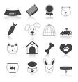 Pets icons set black vector