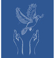 Human hands and peace dove eps10 file vector