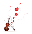 A beautiful violin on playing a love music vector