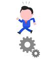 Businessman running on gears vector