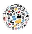 Movie icons in circle vector