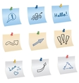 Stickers with pins and different symbols vector