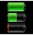Battery icons set with different charge vector