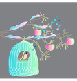 Winter background with cage and bird vector