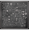 Chalk board romantic set in vector