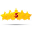 Five golden stars with digit star icons on white vector