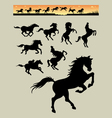 Horse running silhouettes 1 vector