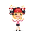 Office girl with red beer helmet on her head vector
