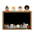 Kids holding blackboard vector