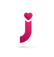Letter j heart logo icon design template elements vector