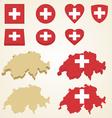 Switzerland map flag 3d pack vector